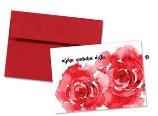 Alpha Gamma Delta Floral Script Notecards(6)