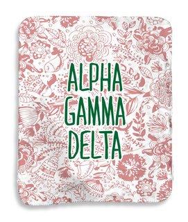 Alpha Gamma Delta Floral Sherpa Lap Blanket