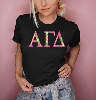 Alpha Gamma Delta Flower Garden Lettered Short Sleeve T-Shirt