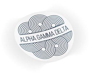 Alpha Gamma Delta Geo Scroll Sticker Sticker