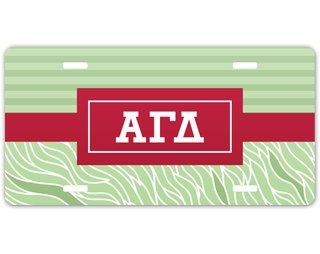 Alpha Gamma Delta Geometric License Plate