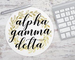 Alpha Gamma Delta Gold Wreath Mousepad