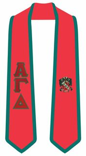 Alpha Gamma Delta Greek 2 Tone Lettered Graduation Sash Stole