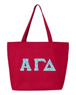 Alpha Gamma Delta Greek Letter Zipper Tote