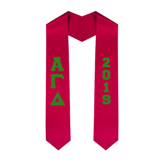 Alpha Gamma Delta Greek Lettered Graduation Sash Stole With Year - Best Value