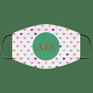 Alpha Gamma Delta Hearts Face Mask