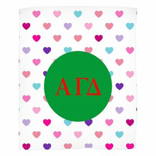 Alpha Gamma Delta Hearts Fleece Blanket