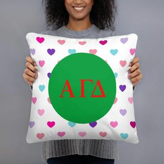 Alpha Gamma Delta Hearts Pillow