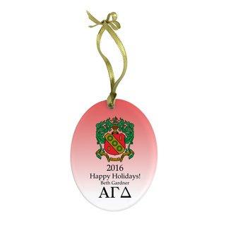 Alpha Gamma Delta Holiday Color Crest - Shield Glass Ornament