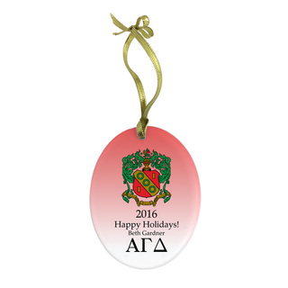 Alpha Gamma Delta Holiday Color Crest - Shield Glass Ornament