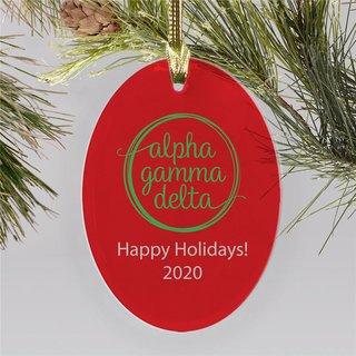 Alpha Gamma Delta Holiday Color Mascot Christmas Ornament
