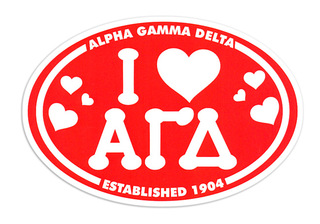 Alpha Gamma Delta I Love Sorority Sticker - Oval