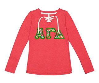 Alpha Gamma Delta LAT - Sorority Fine Jersey Lace-Up Long Sleeve T-Shirt