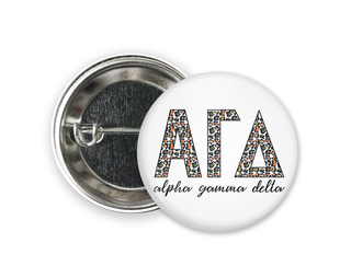 Alpha Gamma Delta Leopard Button