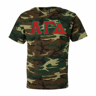 DISCOUNT-Alpha Gamma Delta Lettered Camouflage T-Shirt