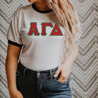 DISCOUNT-Alpha Gamma Delta Lettered Ringer Shirt