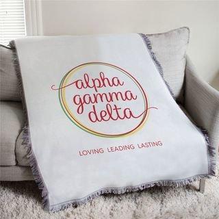 Alpha Gamma Delta Loving Leading Lasting Afghan Blanket Throw