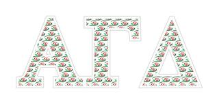 "Alpha Gamma Delta Mascot Greek Letter Sticker - 2.5"" Tall"