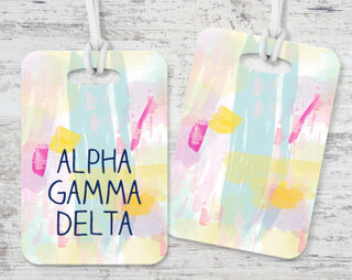 Alpha Gamma Delta Watercolor Luggage Tag
