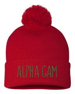 Alpha Gamma Delta Mod Pom Pom Beanie