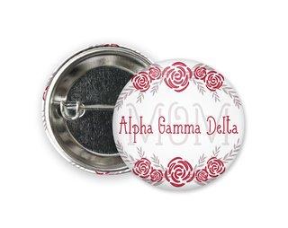 Alpha Gamma Delta Mom Floral Button