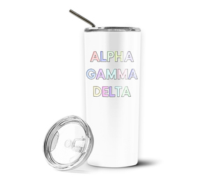Alpha Gamma Delta Pastel Letters Outline Stainless Tumbler
