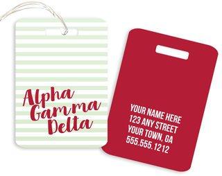 Alpha Gamma Delta Personalized Striped Luggage Tag