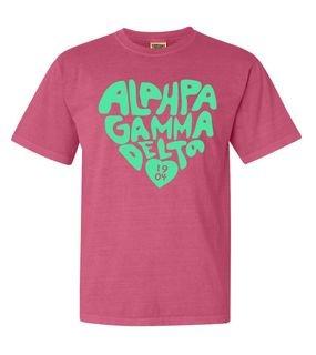 Alpha Gamma Delta Piece of My Heart Sorority Comfort Colors T-Shirt