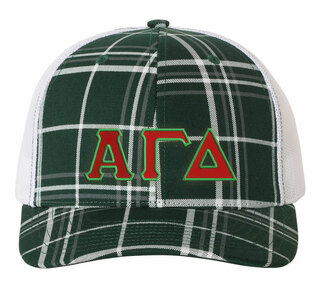 Alpha Gamma Delta Plaid Snapback Trucker Hat - CLOSEOUT