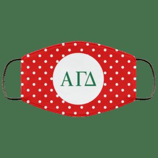 Alpha Gamma Delta Polka Dots Face Mask