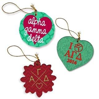 Alpha Gamma Delta Porcelain Ornament Trio Set
