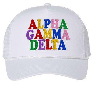 Alpha Gamma Delta Rainbow Trucker Hat