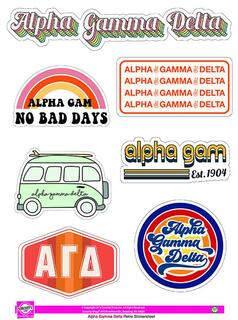 Alpha Gamma Delta Retro Sticker Sheet