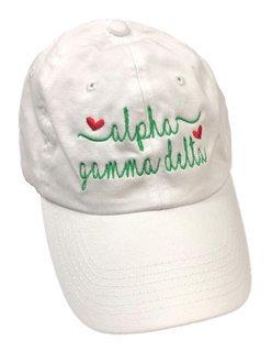 Alpha Gamma Delta Script Hearts Ball Cap