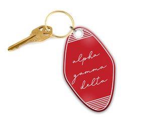 Alpha Gamma Delta Script Motel Keychain
