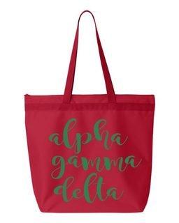 Alpha Gamma Delta Script Tote bag