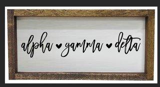 Alpha Gamma Delta Script Wooden Signs