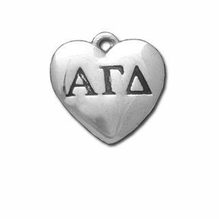 Alpha Gamma Delta Silver Greek Heart Charm