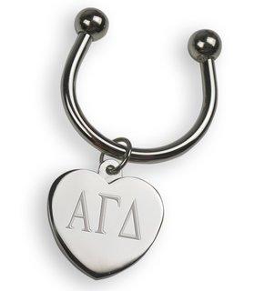 Alpha Gamma Delta Silver Heart Keyring