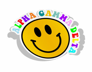 Alpha Gamma Delta Smiley Face Decal Sticker