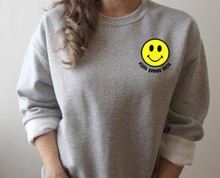 Alpha Gamma Delta Smiley Face Embroidered Crewneck Sweatshirt