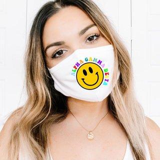 Alpha Gamma Delta Smiley Face Face Mask