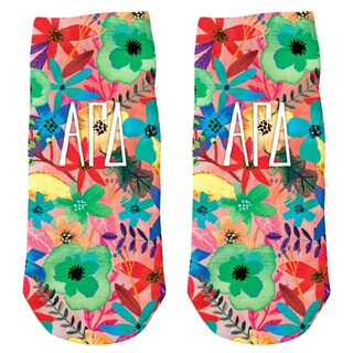 Alpha Gamma Delta Sorority Floral Ankle Socks