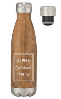 Alpha Gamma Delta Sorority Swig Stainless Steel Woodtone Bottle