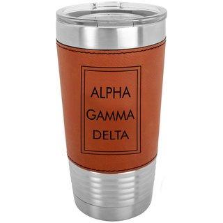 Alpha Gamma Delta Sorority Leatherette Polar Camel Tumbler
