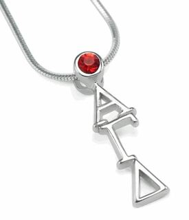 Alpha Gamma Delta Sterling Silver Lavaliere with Red Crystal