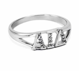 Alpha Gamma Delta Sterling Silver Ring set with Lab-Created Diamonds