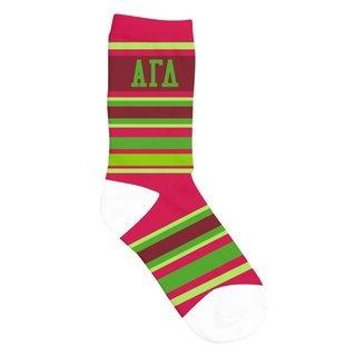 Alpha Gamma Delta Striped Crew Socks