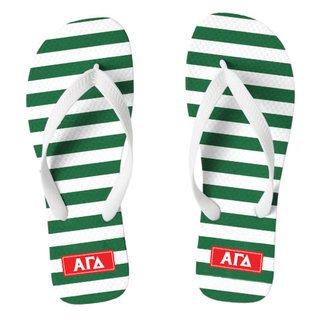 Alpha Gamma Delta Striped Flip Flops