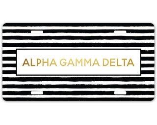 Alpha Gamma Delta Striped Gold License Plate